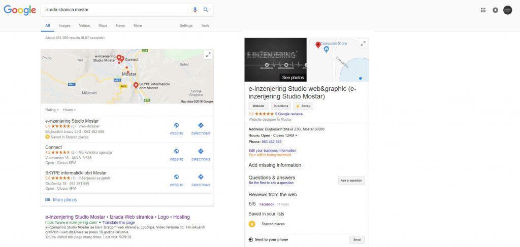 Prikaz Seo optimizacije u akciji - einzenjering Web Studio Mostar