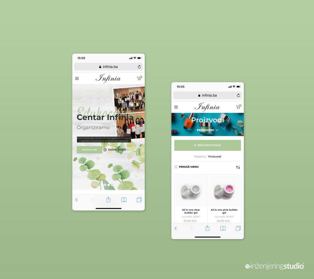 """Izrada web stranice Mostar - Prezentacija Web stranice i web trgovine Salona ljepote i Edukacijskog Centra """"Infinia"""" Mostar"""