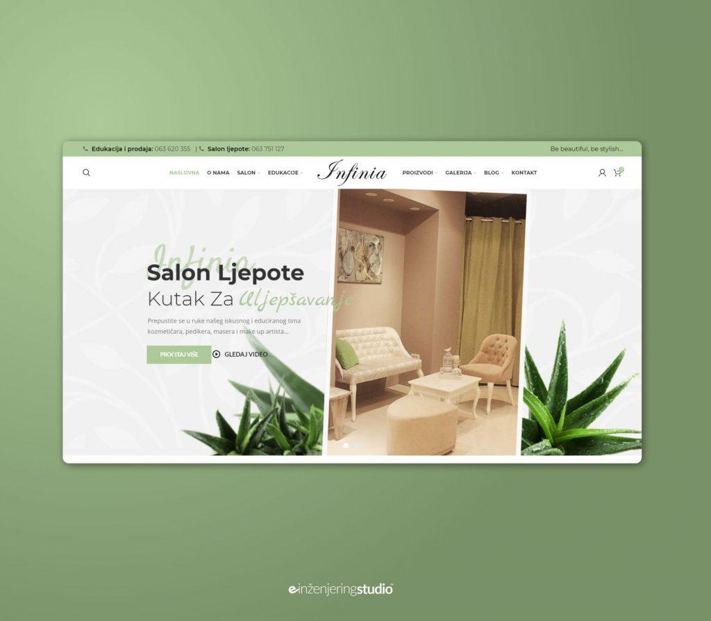 """Prezentacija Web stranice i web trgovine Salona ljepote i Edukacijskog Centra """"Infinia"""" Mostar"""